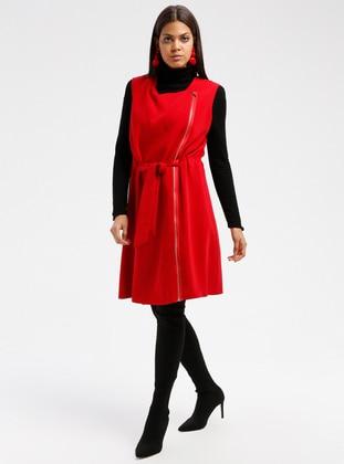 Red - Unlined - Crew neck - Cotton - Vest