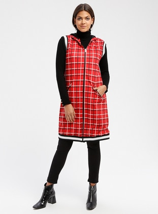 Red - Checkered - Fully Lined - Vest