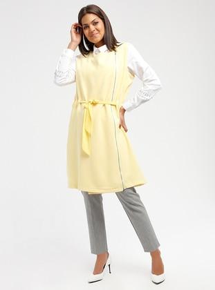Yellow - Unlined - Crew neck - Cotton - Vest