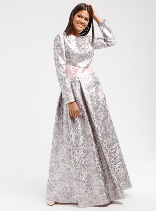 Pink - Multi - Crew neck - Fully Lined - Dresses
