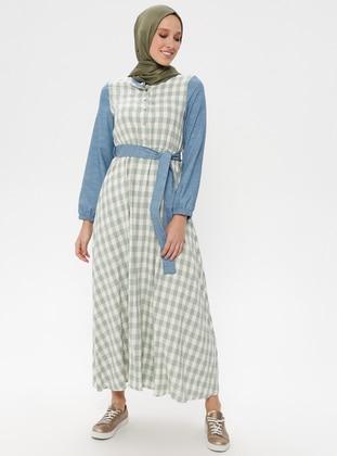 Green Almond - Checkered - Crew neck - Unlined - Cotton - Linen - Dresses