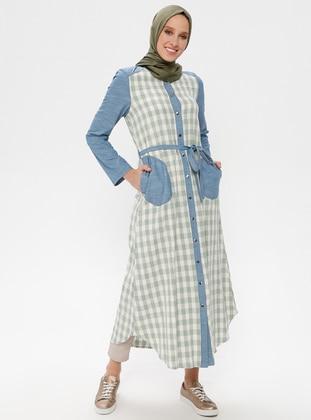 Green Almond - Checkered - Crew neck - Cotton - Linen - Tunic
