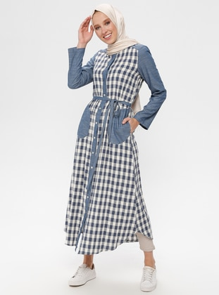 Navy Blue - Indigo - Checkered - Crew neck - Cotton - Linen - Tunic