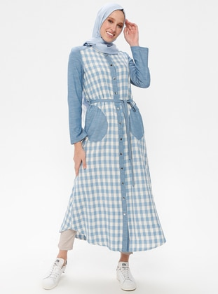 Blue - Checkered - Crew neck - Cotton - Linen - Tunic