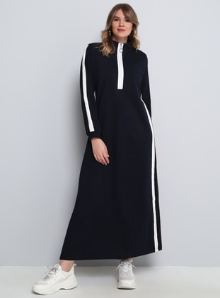 White - Navy Blue - Unlined - Polo neck - Plus Size Dress - Alia