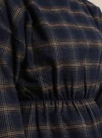 Yellow - Navy Blue - Plaid - Polo neck - Tunic