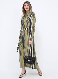 Black - Smoke-coloured - Stripe - Unlined - Point Collar - Dresses