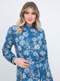 Blue - Floral - Unlined - Polo neck - Plus Size Dress
