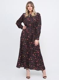 Siyah - Çiçekli - Astarsız kumaş - Yuvarlak yakalı - Büyük beden elbise
