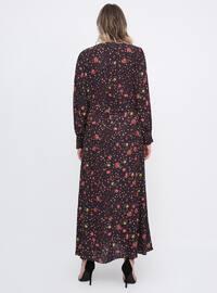 Black - Floral - Unlined - Crew neck - Plus Size Dress