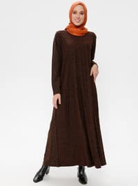 Black - Mustard - Stripe - Crew neck - Unlined - Dresses