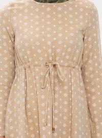 Beige - Multi - Crew neck - Fully Lined - Cotton - Linen - Dress