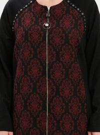 Black - Plum - Multi - Unlined - Crew neck - Plus Size Coat