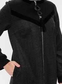 Black - Anthracite - Multi - Unlined - Crew neck - Topcoat