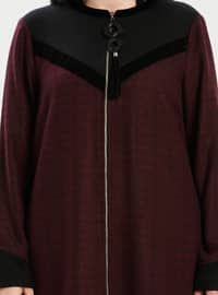 Black - Plum - Multi - Crew neck - Plus Size Coat