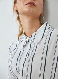 White - Stripe - Point Collar - Blouses