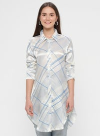 Blue - White - Multi - Point Collar - Viscose - Blouses