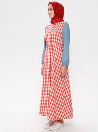 Red - Checkered - Button Collar - Unlined - Cotton - Linen - Dress