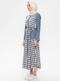 Navy Blue - Indigo - Checkered - Crew neck - Cotton - Linen - Tunic