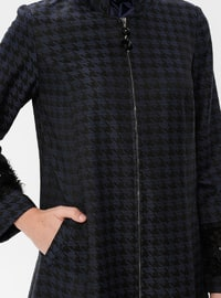 Black - Navy Blue - Houndstooth - Unlined - Crew neck - Topcoat