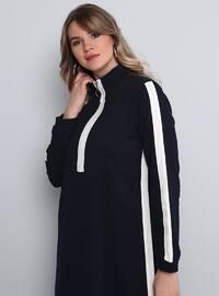 White - Navy Blue - Unlined - Polo neck - Plus Size Dress