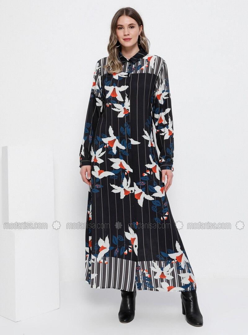 Black - Minc - Multi - Unlined - Point Collar - Dresses