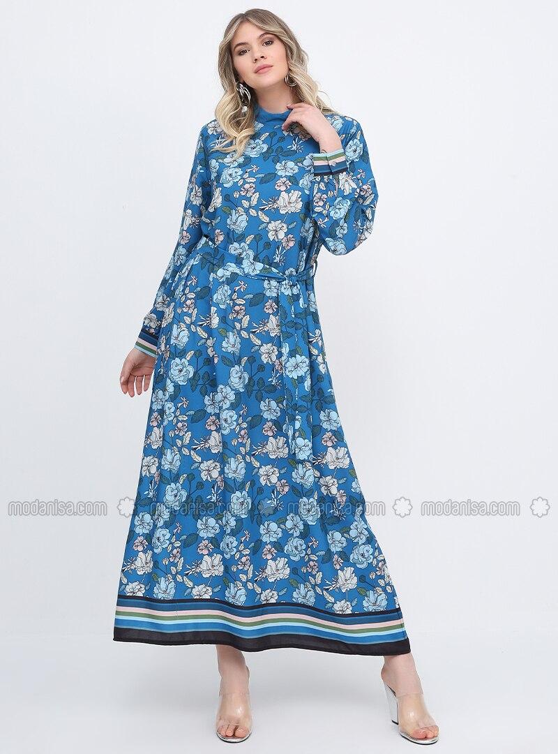 blau - blumenmuster - ohne innenfutter - rollkragen - kleid g.g.