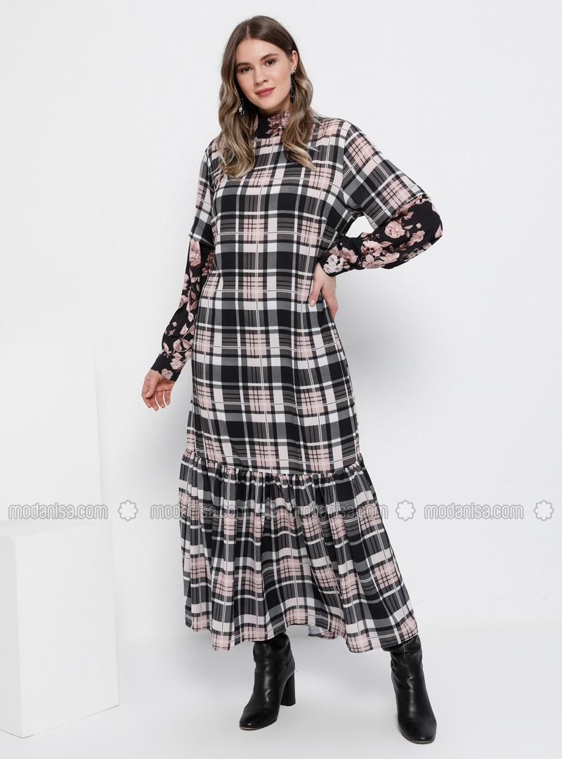 Black - Powder - Floral - Plaid - Multi - Unlined - Polo neck - Plus Size  Dress