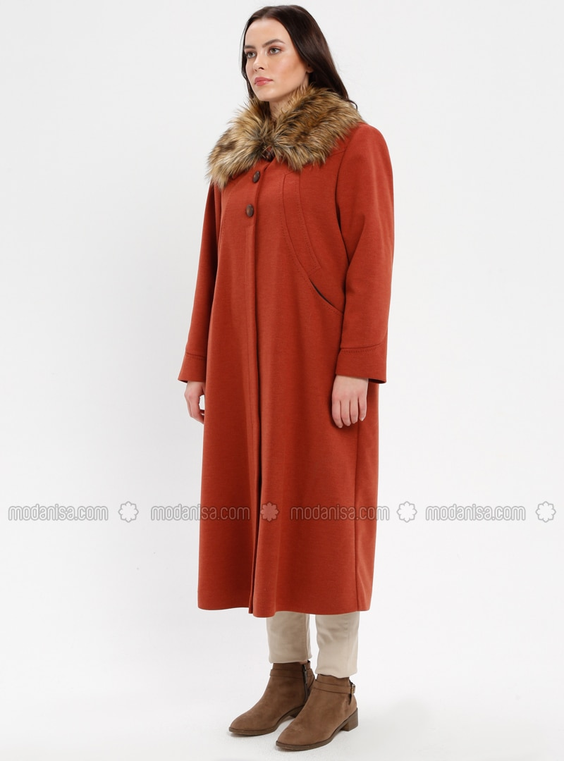 0cec25588748e Terra Cotta - Fully Lined - Point Collar - Plus Size Coat