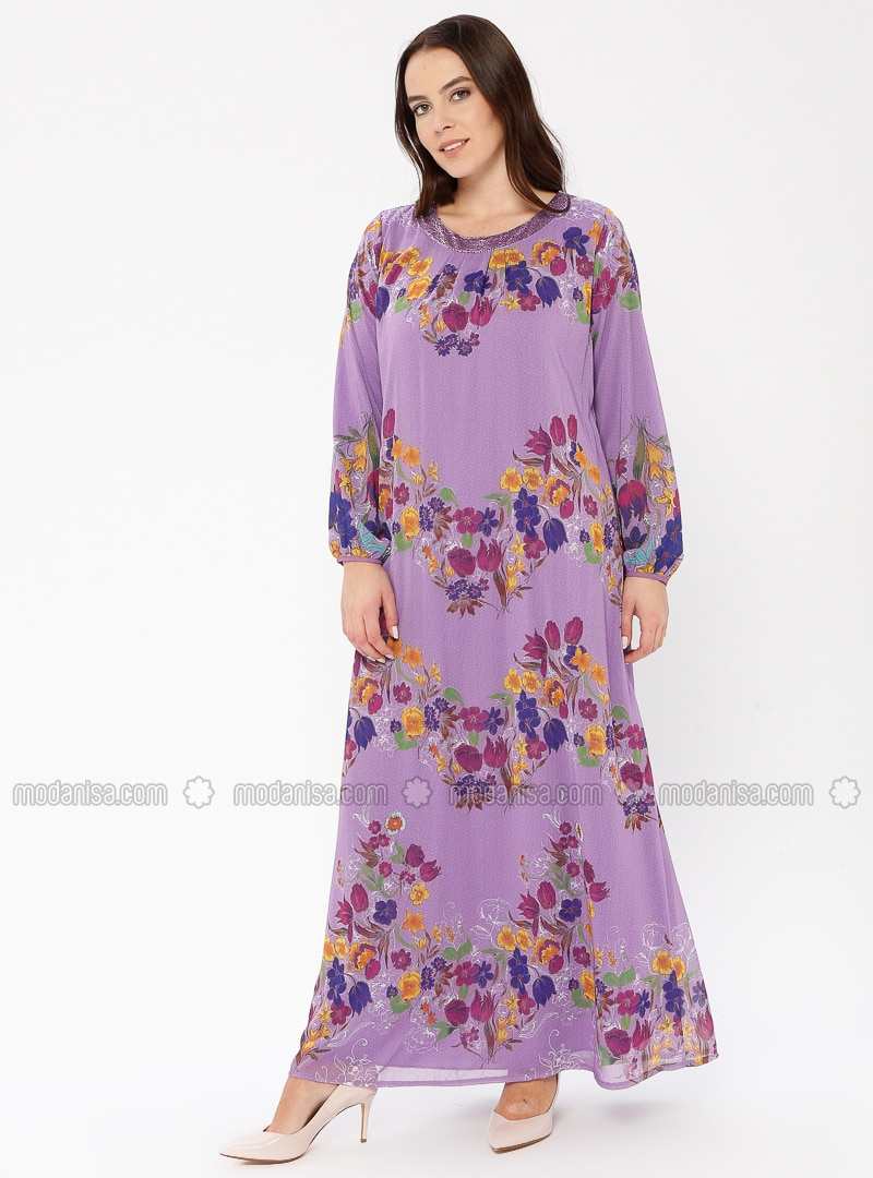 Lilac - Multi - Fully Lined - Crew neck - Plus Size Dress