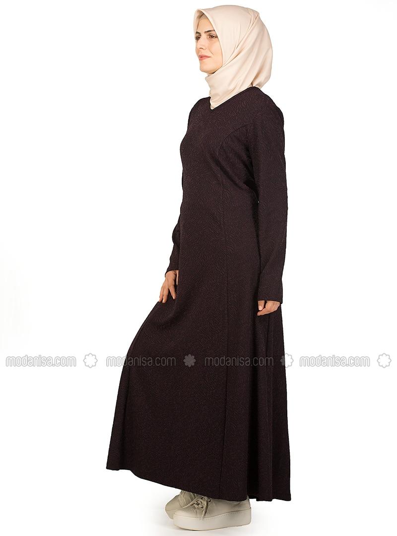 Plum - Multi - Crew neck - Unlined - Dresses