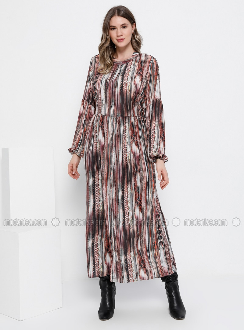Minc - Multi - Unlined - Button Collar - Plus Size Dress