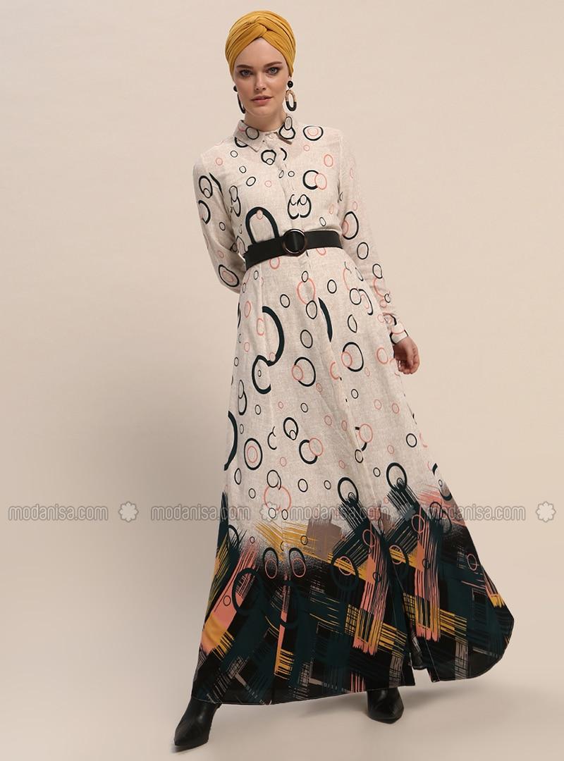 Khaki - Multi - Point Collar - Unlined - Viscose - Dresses