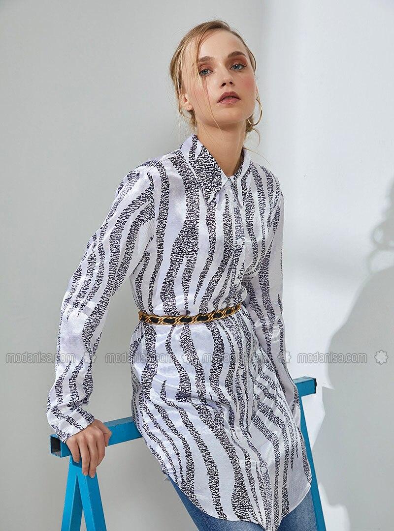 White - Gray - Zebra - Point Collar - Blouses