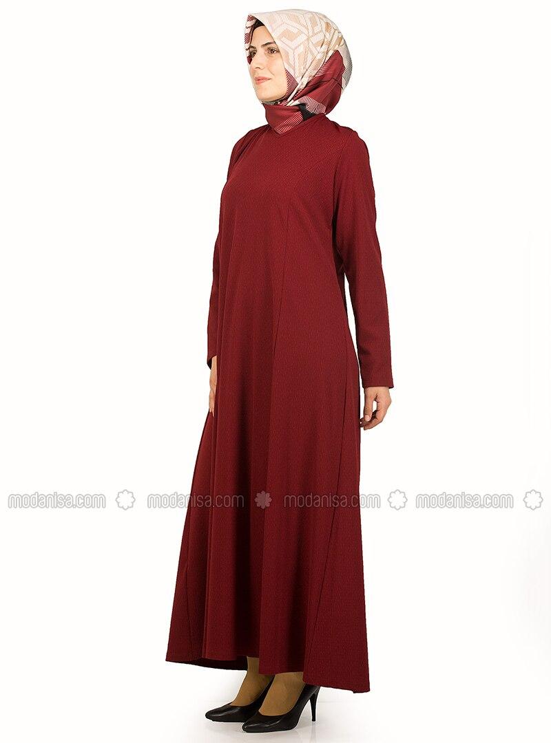 Maroon - Crew neck - Unlined - Dresses