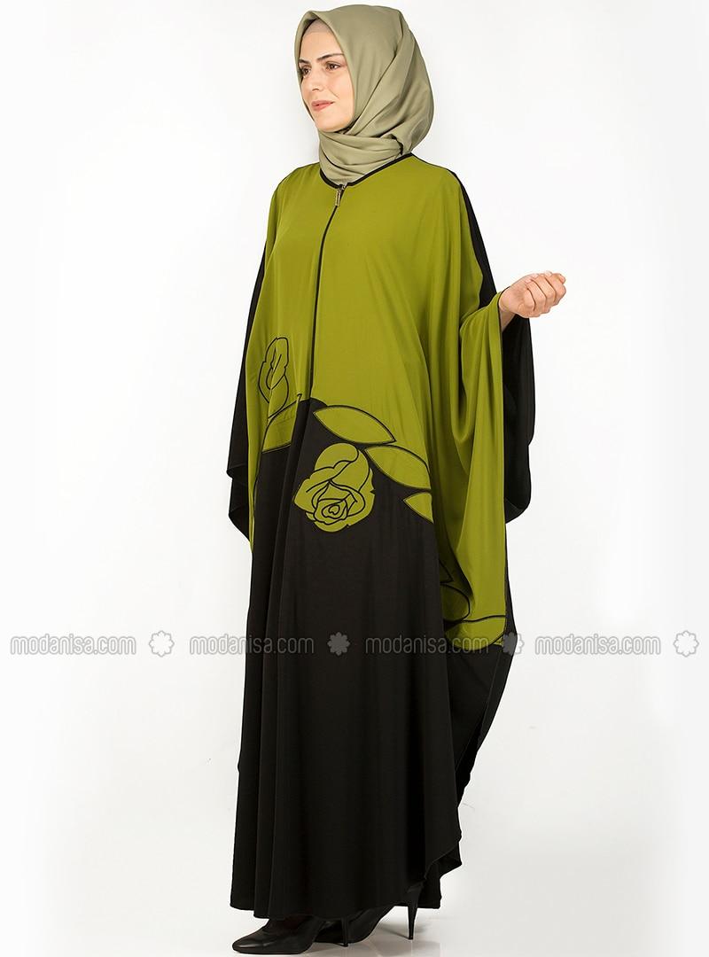 Green Crew neck Unlined Plus Size Abaya NAKSIN