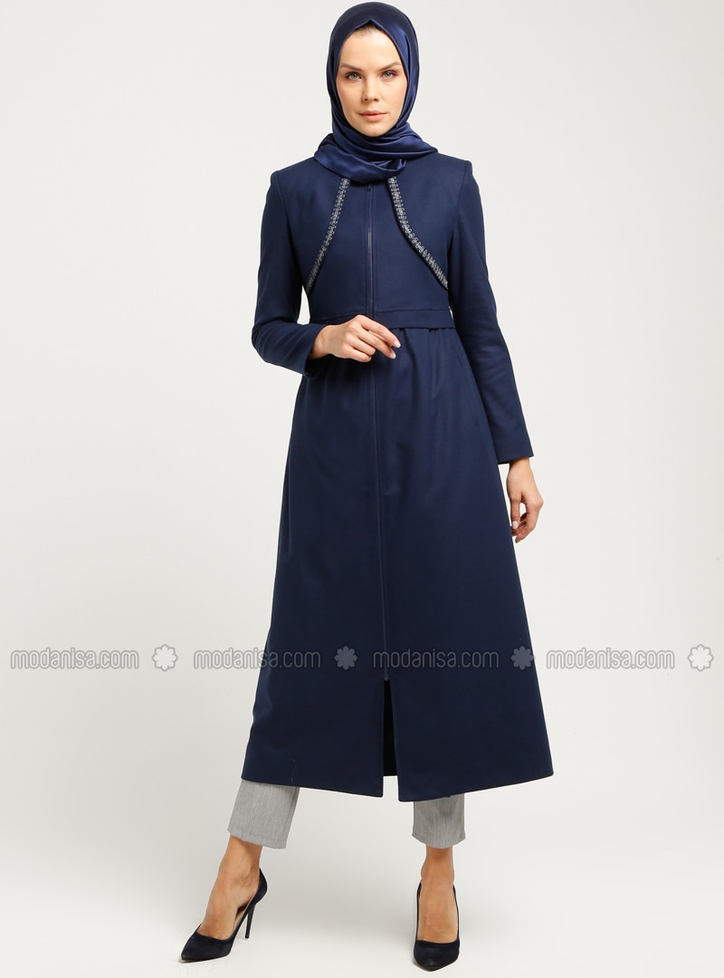 Navy Blue - Fully Lined - Crew neck - Coat