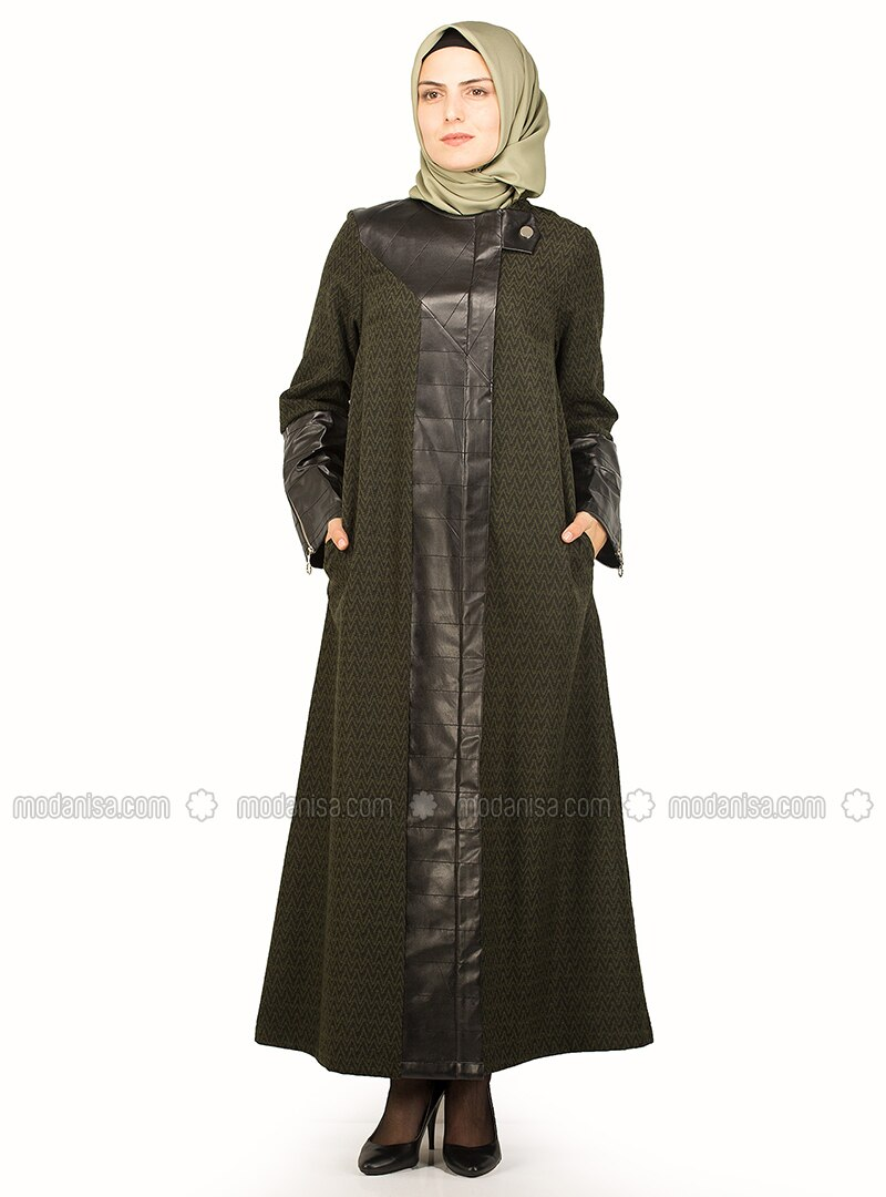Black - Khaki - Multi - Unlined - Crew neck - Coat