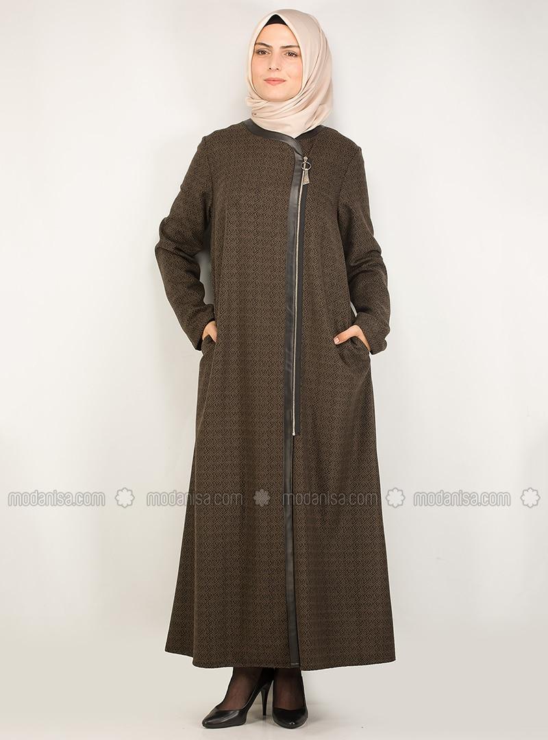 Black - Brown - Multi - Unlined - Crew neck - Coat