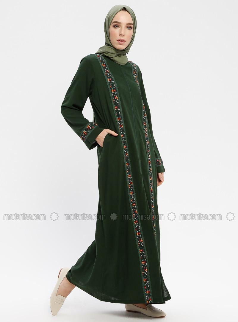Khaki - Multi - Unlined - Crew neck - Abaya