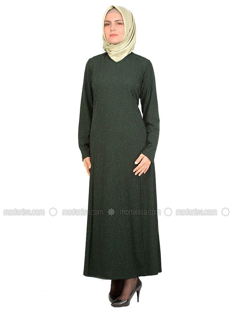Green - Multi - Crew neck - Unlined - Cotton - Dresses
