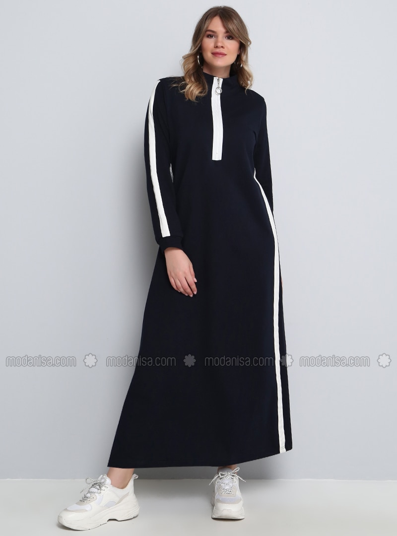 White - Navy Blue - Unlined - Polo neck - Plus Size Dress
