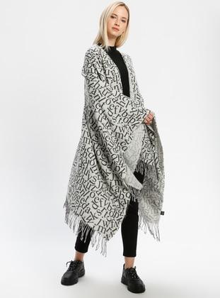 Acrylic - Gray - Printed - Fringe - Shawl Wrap - Daisy Accessory