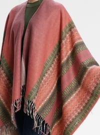 Acrylic - Pink - Printed - Fringe - Shawl Wrap