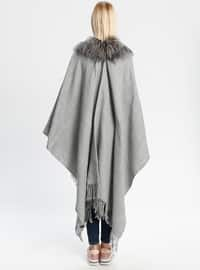 Acrylic - Gray - Plain - Shawl Wrap