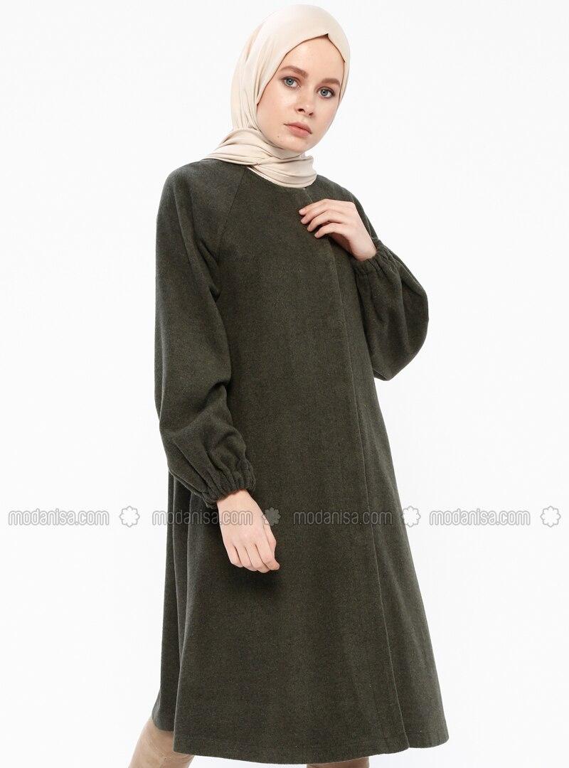 Khaki - Fully Lined - Crew neck - Coat - Gzd