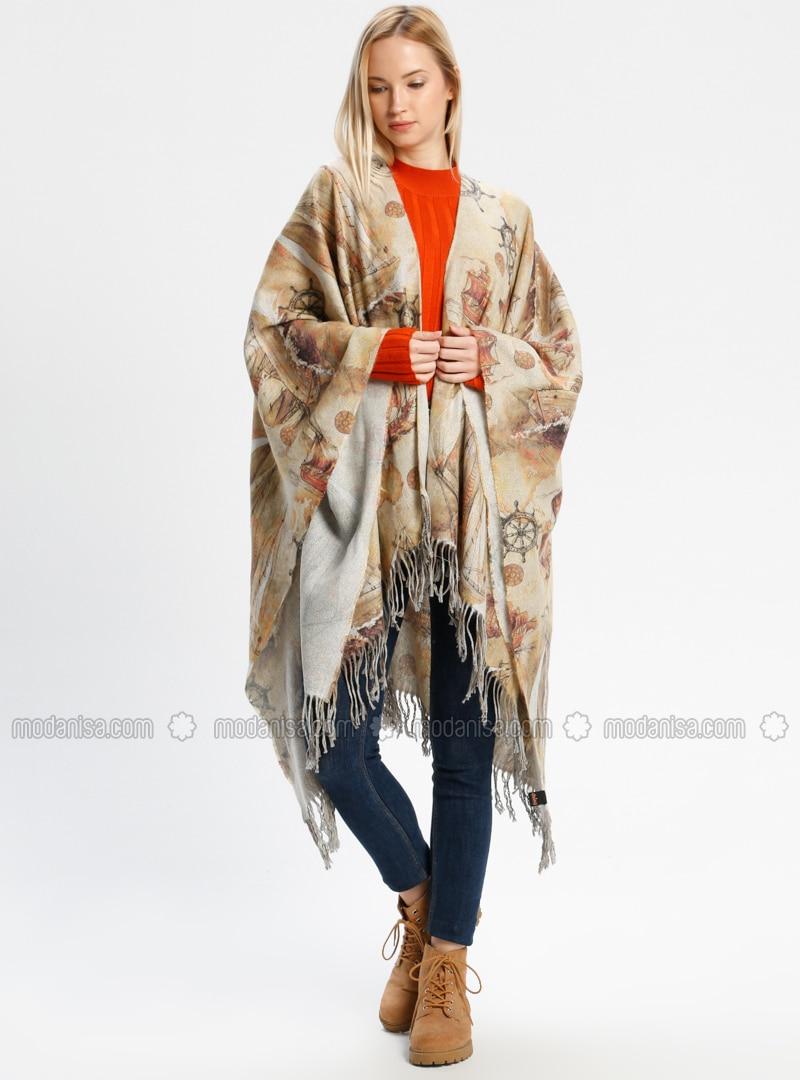 Acrylic - Beige - Printed - Fringe - Shawl Wrap