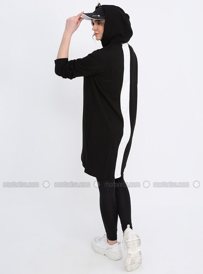 Black - White - Cotton - Plus Size Tunic
