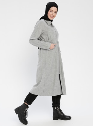 Gray - Unlined - Point Collar - Coat