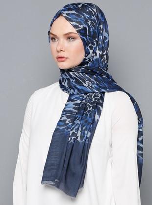 Navy Blue - Leopard - Cotton - Shawl